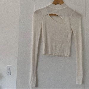 Delicate White Cut-Out Turtle Neck Long Sleeve